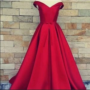 Dresses & Skirts - New red off-shoulder satin gown